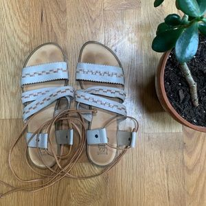 Latigo Leather Lace-up Gladiator Sandals